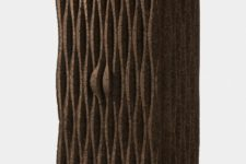 03 Here's one of the cabinets of dark cork that shows off cool wave-like design