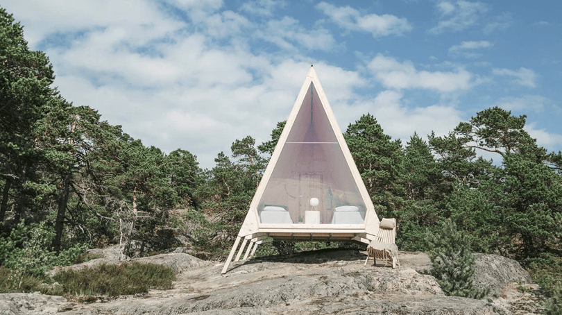The cabin is located on a Finnish island, in a beautiful place with gorgeous views and woodlands