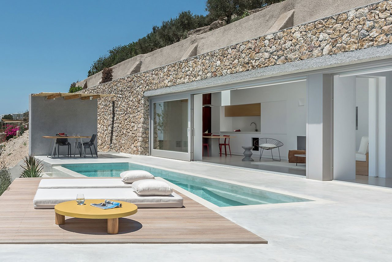 terrace with cool modern loungers