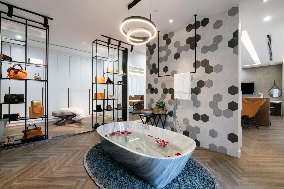 bathroom with a sone bathtub
