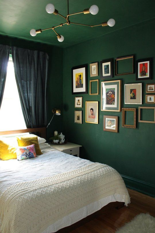 a whole room done in forest green - the walls and the ceiling for a trendy moody look