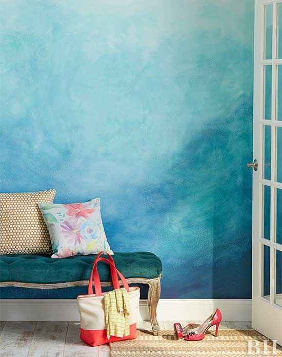 bold blue as a dominant color and dark green as an accent one make this entryway extra bright