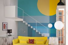 05 The living room is a vibrant space done in the shades of blue and yellow