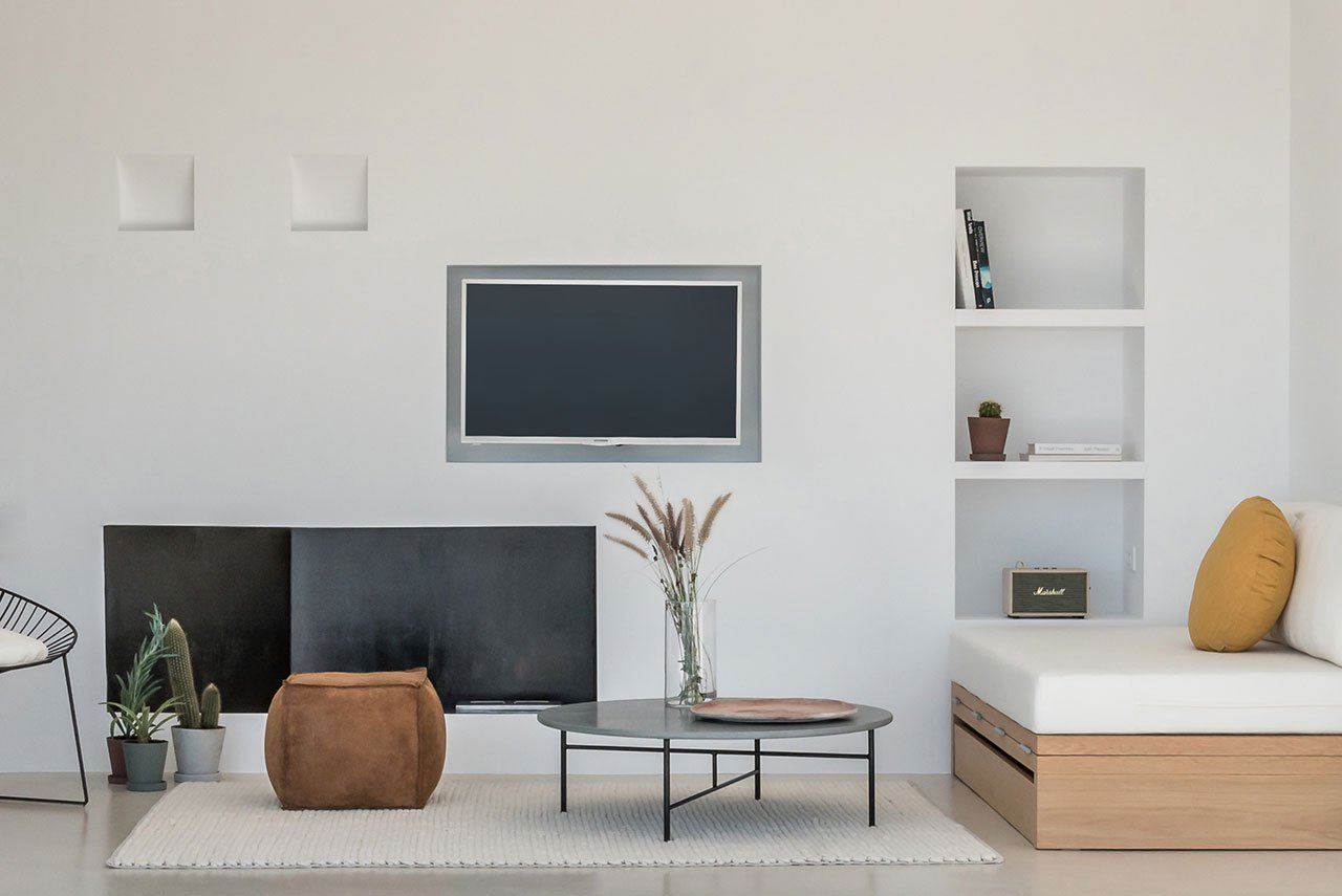 The living rooms done in the same colors, everything is very simple here