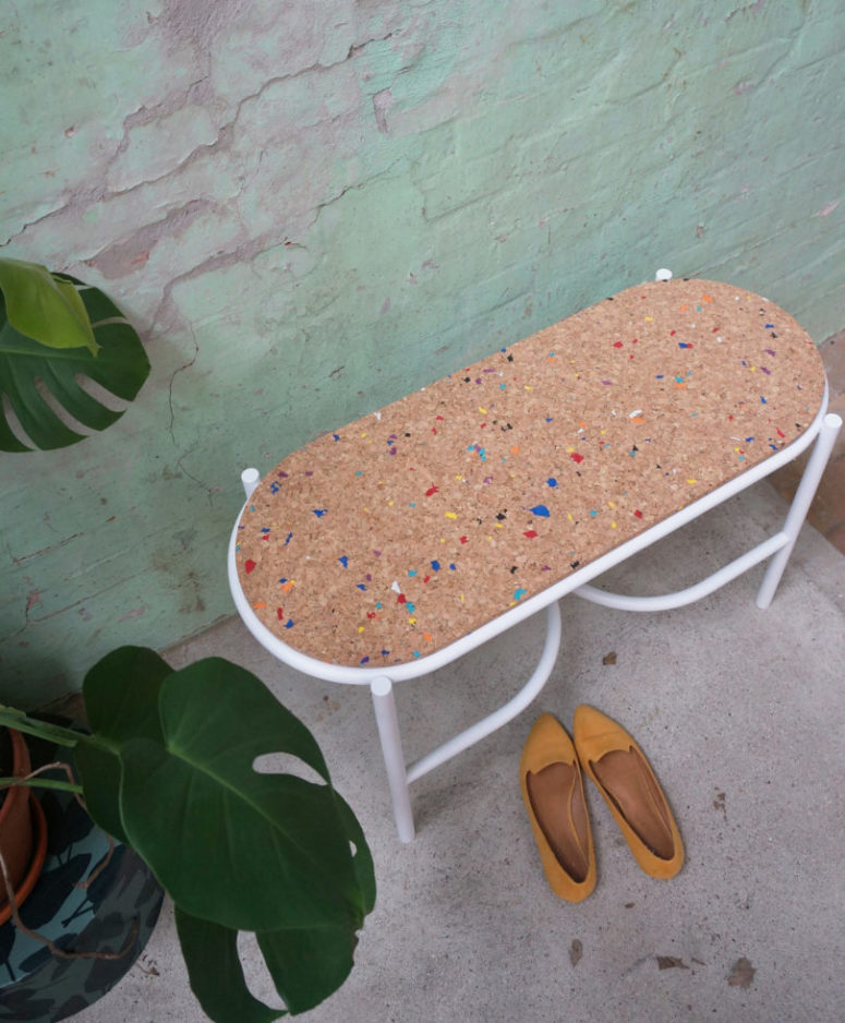 There's also a matching bench on a similar base and with a cork seat