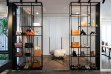 05 There's an airy closet with stylish and refined shelves