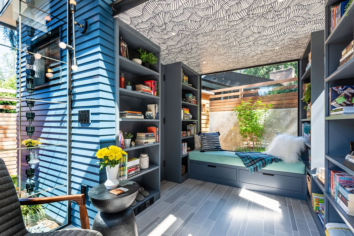 There's much storage space with open shelving and furniture with additional storage