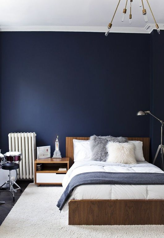 a navy statement wall takes over the space and makes it welcoming and relaxing