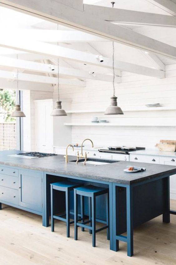 a trendy two toned kitchen look can be achieved with a large kitchen island of a different color like here   a bold blue one