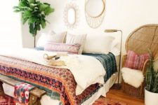 05 some wicker touches like a chair and framed mirrors plus printed textiles create a boho look easily