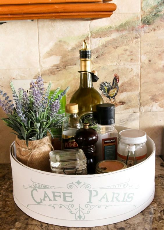 a cheese box is transformed into a French farmhouse styled kitchen caddy
