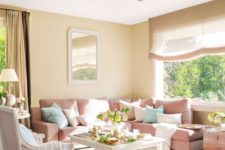06 a cozy living room with tan as the main color, light pink as a secondary and pure white for refreshing