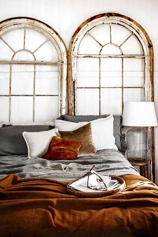 rust-colored velvet will make your bedroom refined and chic and will add coziness to the space