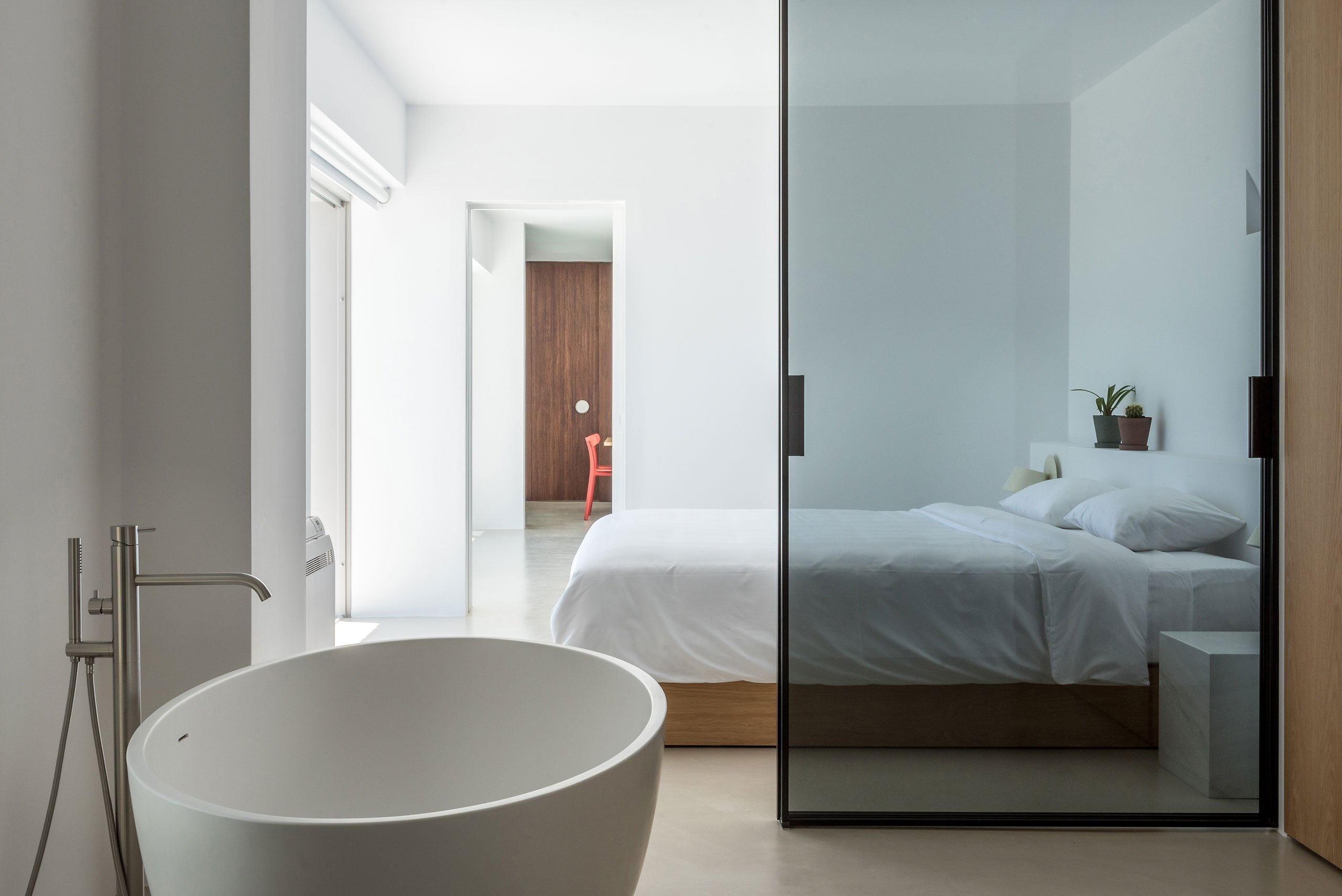 bedroom combined with a bathroom