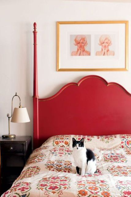 paint your bed red and you'll get a colorful touch for bedroom decor for free