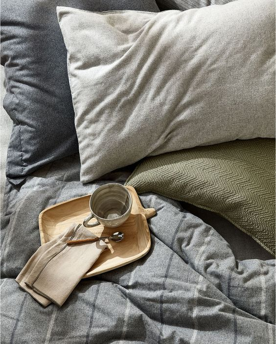 a comforting muted-color bedding set is right what you need for relaxation in the fall