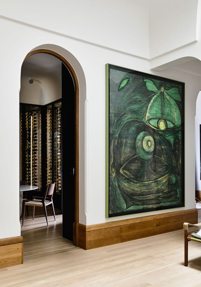 Stunning artworks from the owner's collection add to the space