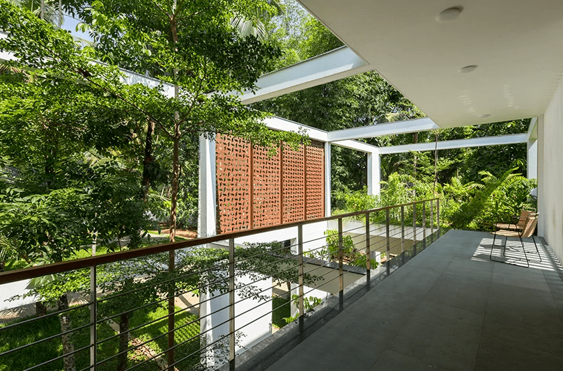 The balcony also provides the overhead view of the property