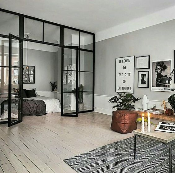 a living room and bedroom separated with a glass wall look as a stylish unity