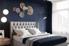 11 a navy accent wall is great for a contemporary bedroom, it highlights the sleeping zone