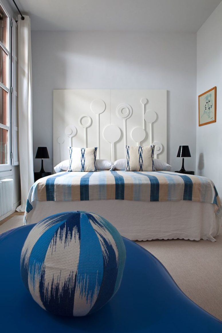 The second bedroom is smaller and is done in the shades of blue