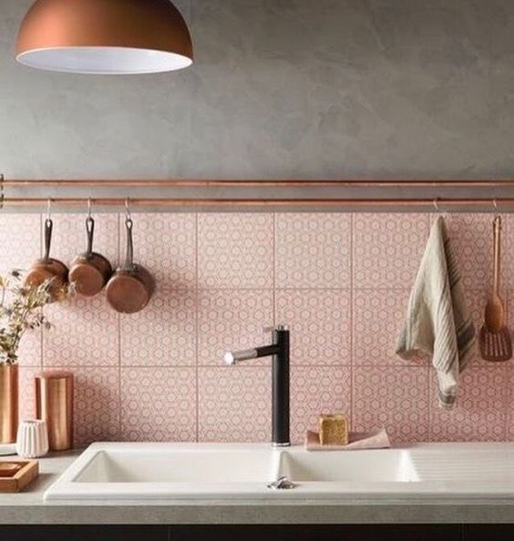 ceramic pink kitchen backsplash