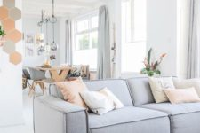 12 grey and coral as the main color accents in this neutral space are a cool and fresh idea