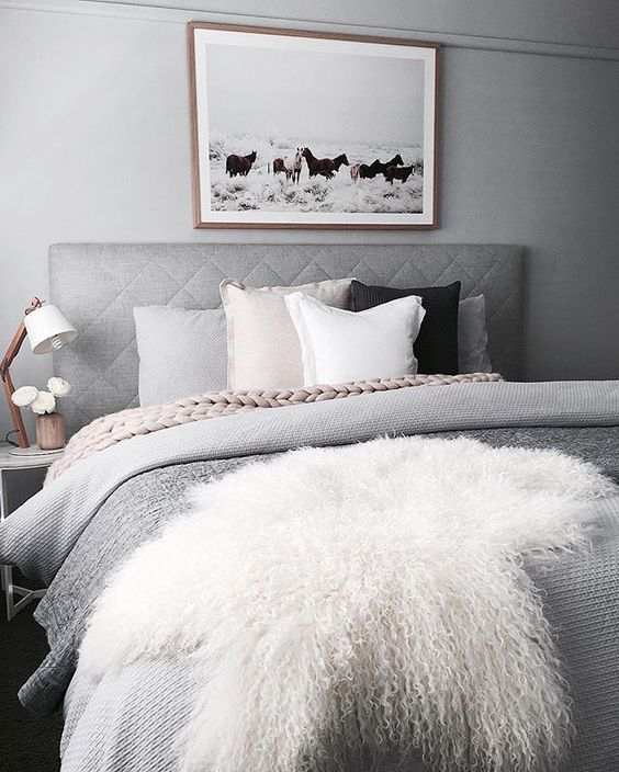 soften the greys with blush and cream, add some black details for interest