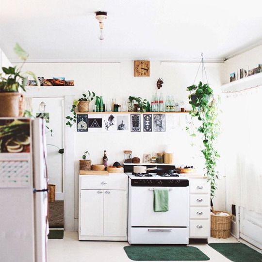 a small and light-filled boho kitchen with potted greenery, wooden and wicker touches looks very welcoming