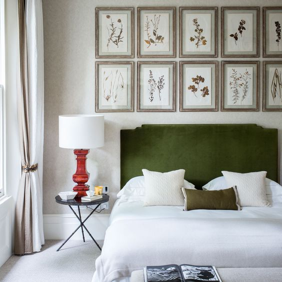 a grass green velvet upholstered bed is what you need for a nature-inspired bedroom