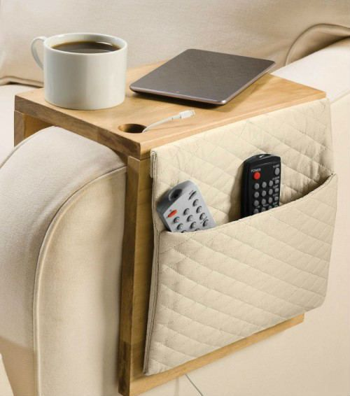 a plywood sofa caddy with a fabric pocket is suitable for storage and for drinks and gadgets