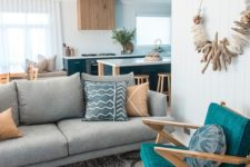 14 bright teal touches are ideal for a coastal or beach inspired space like this one