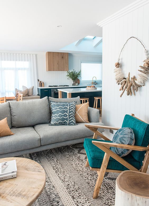 bright teal touches are ideal for a coastal or beach inspired space like this one
