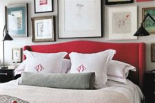 15 a grey bedroom spruced up with lots of artworks and a red upholstered bed