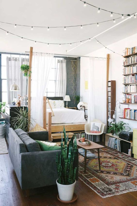 the boho space designed as a unity in the same colors and with similar accents