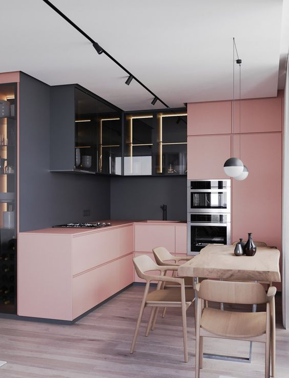a gorgeous two toned kitchen in black and pink is a great idea to rock the two tone kitchen trend