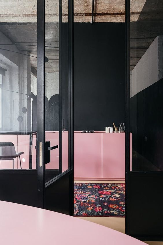 the spaces are done in the same colors - black and pink and look like one