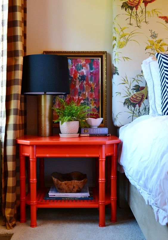 a large vintage red nightstand is a great idea to add color and a vintage feel to any space