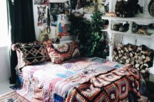 17 bold boho chic textiles and rugs, some artworks and greenery for a boho yet glam look