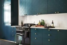 18 accent your kitchen cabinets and their color with brass knobs to add a touch of glam and chic