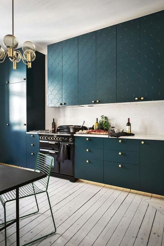 accent your kitchen cabinets and their color with brass knobs to add a touch of glam and chic