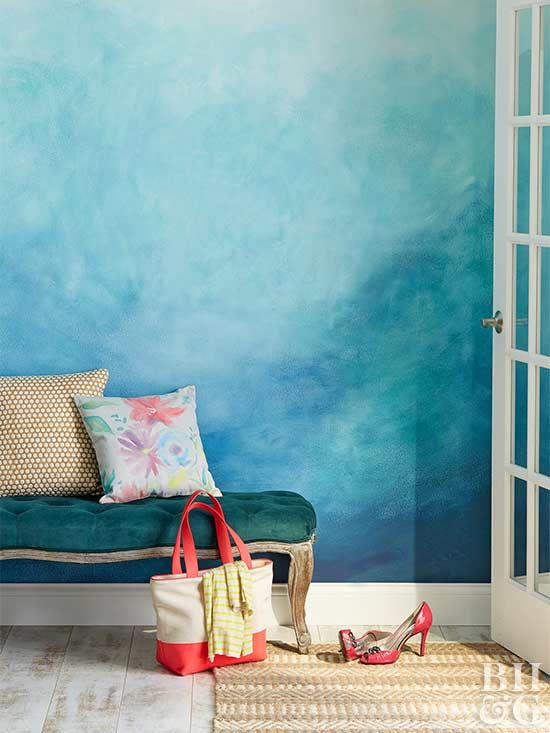 add a watercolor painted wall as a colorful accent to any space, it's an easy DIY project