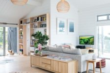 18 contemporary sleek wooden furniture in each part of the open layout ties them up for a unified look