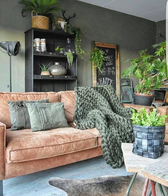 muted green and rust are a nice duo for a relaxing earthy space