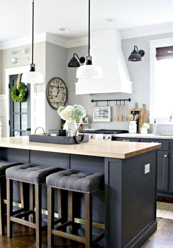 a row of cabinets and a kitchen island with a dining zone are a minimal must for a kitchen