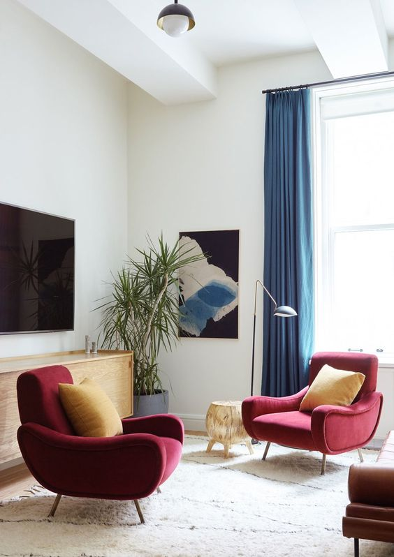 burgundy and bold blue are a timeless couple of colors for accenting any space