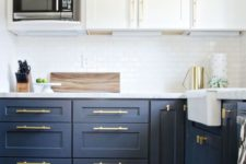 19 unify the cabinet look using the same brass handles and make a cool glam accent with them