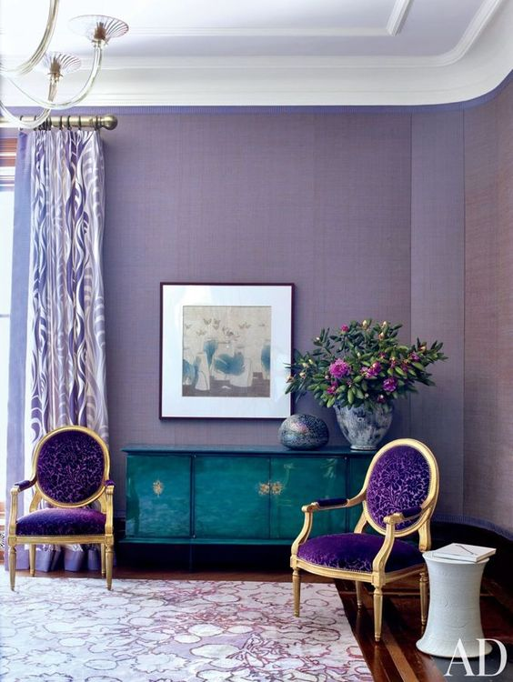 purple and turquoise as the main accent colors and lavender touches as shades of purple