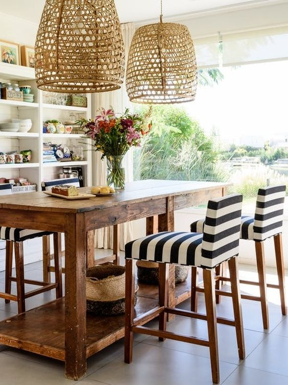 a taller table with tall stools can double as an office space if needed