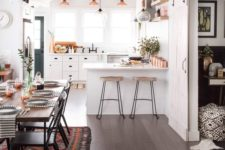 21 copper touches and boho textiles are a bold and cool idea for a kitchen-dining space layout
